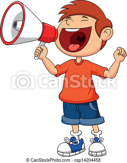Cartoon boy yelling and shouting in - csp14204458