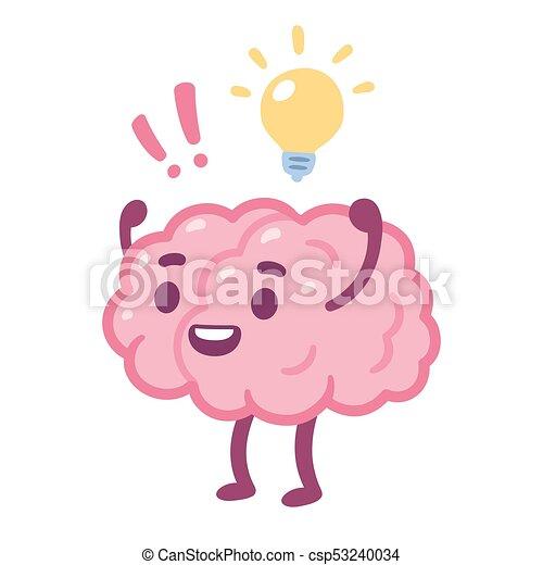 cartoon brain idea cartoon brain with happy face and lightbulb rh canstockphoto com cartoon brain pics cartoon brain images free