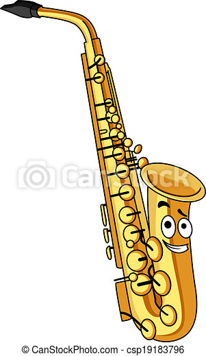 cartoon brass saxophone with a smiling face for musical eps rh canstockphoto com cartoon saxophone pictures