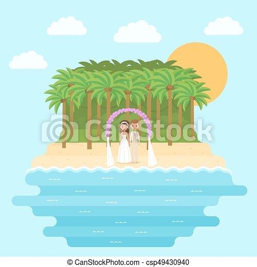 Cartoon Bride And Groom On Beach In Flat Design Vector