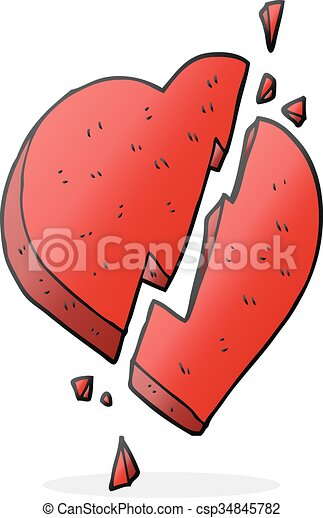 Freehand Drawn Cartoon Broken Heart Symbol