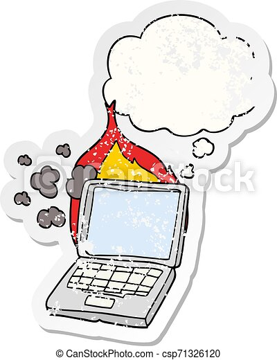 cartoon broken laptop computer and thought bubble as a distressed worn sticker - csp71326120