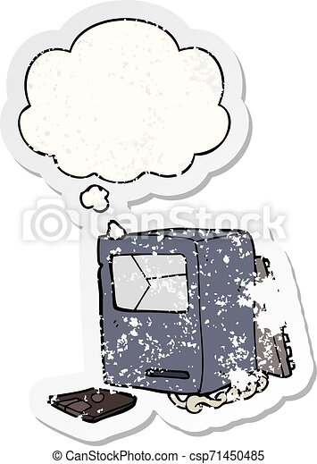 cartoon broken old computer and thought bubble as a distressed worn sticker - csp71450485