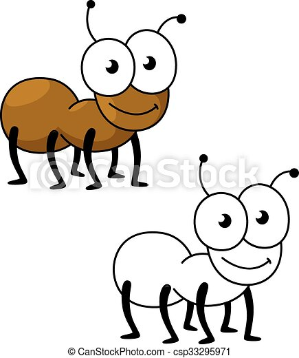 cartoon brown worker ant insect cartoon little brown worker ant