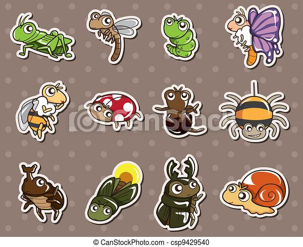 cartoon bug stickers - csp9429540