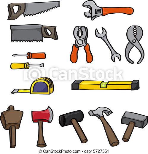 Cartoon building tools set set of 15 hand drawn cartoon - Clipart bricolage ...