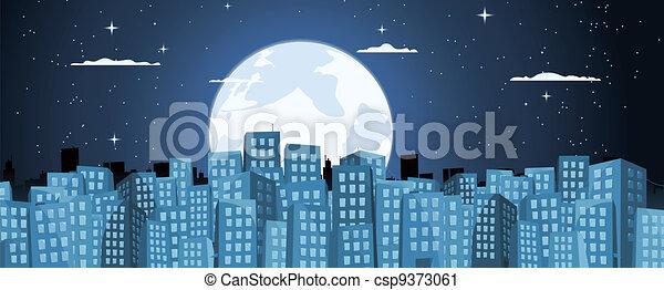 Cartoon Buildings Background In The Moonlight - csp9373061