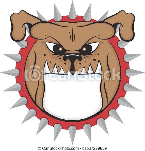 cartoon bulldog head vector animal icon illsutation - csp37279659