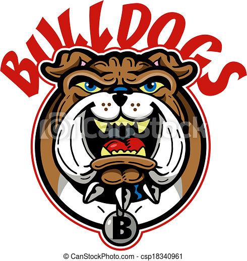 cartoon bulldog mascot - csp18340961