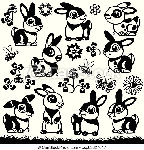 Cartoon Bunnies Set Set Of Cartoon Bunny Rabbit Black And White