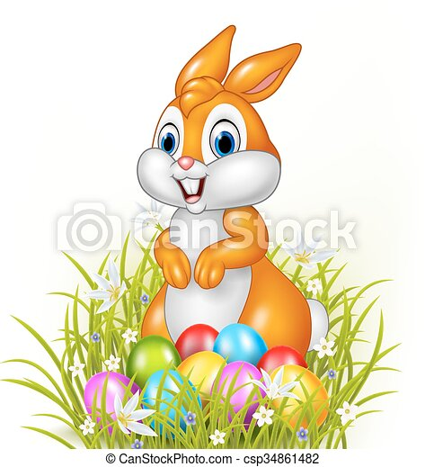 Cartoon bunny with easter eggs - csp34861482
