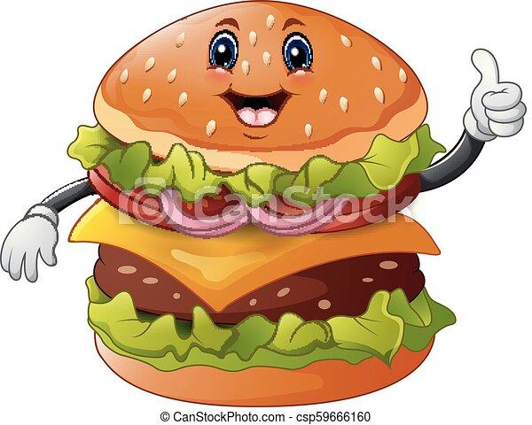 Cartoon burger giving a thumbs up - csp59666160