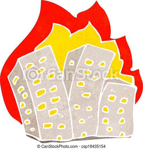 cartoon burning buildings - csp18435154