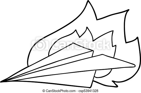Cartoon Burning Paper Airplane