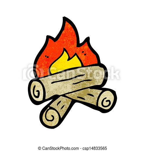cartoon burning wood logs - csp14833565