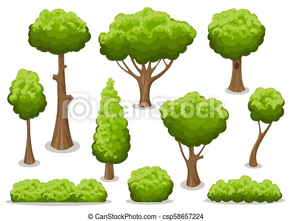 Cartoon bush and tree set - csp58657224