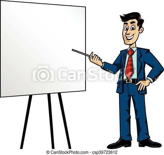 cartoon business man presentation vector clip art search rh canstockphoto com