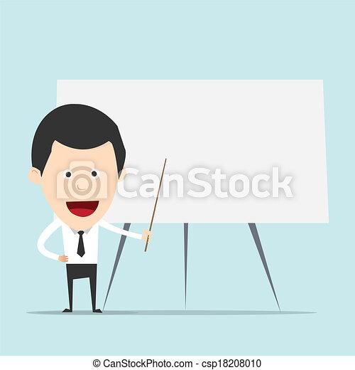 Cartoon business man teaching - csp18208010