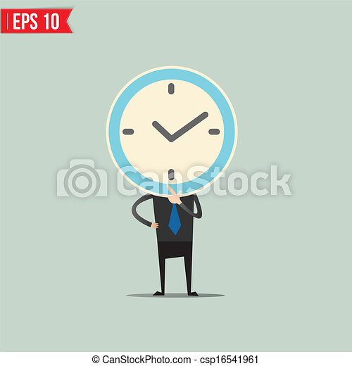 Cartoon Business man with clock face  - Vector illustration - EPS10 - csp16541961