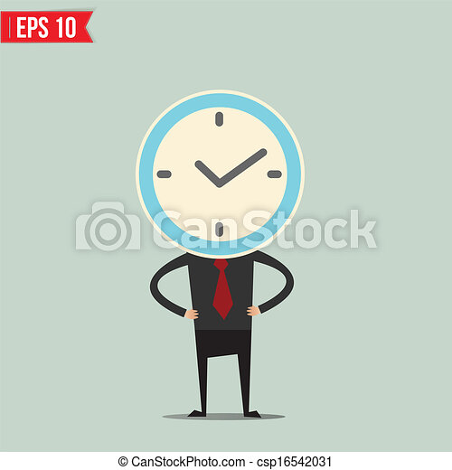 Cartoon Business man with clock face  - Vector illustration - EPS10 - csp16542031