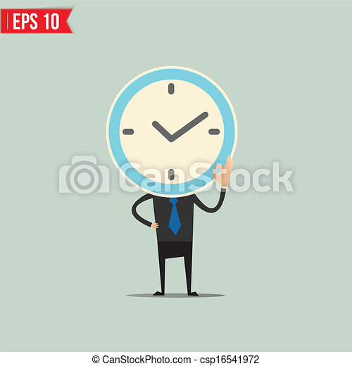 Cartoon Business man with clock face  - Vector illustration - EPS10 - csp16541972