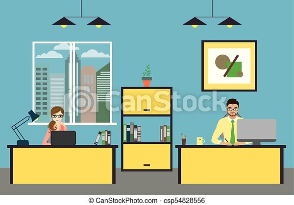 Cartoon business people working at home or modern office - csp54828556