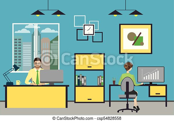 Cartoon business people working at home or modern office - csp54828558