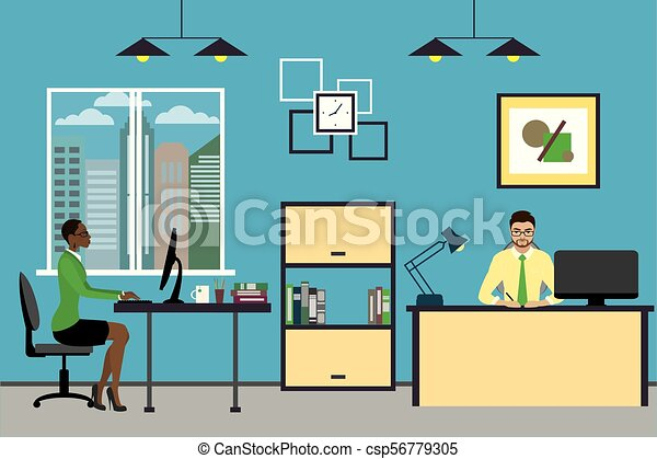 Cartoon business people working at home or modern office. - csp56779305