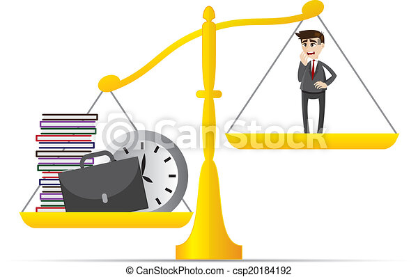 cartoon businessman and lot of work on balance scale - csp20184192