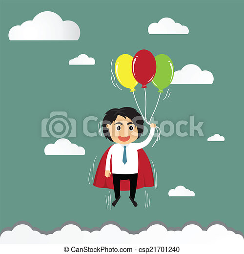 cartoon businessman flying in freedom concept with colorful ball - csp21701240