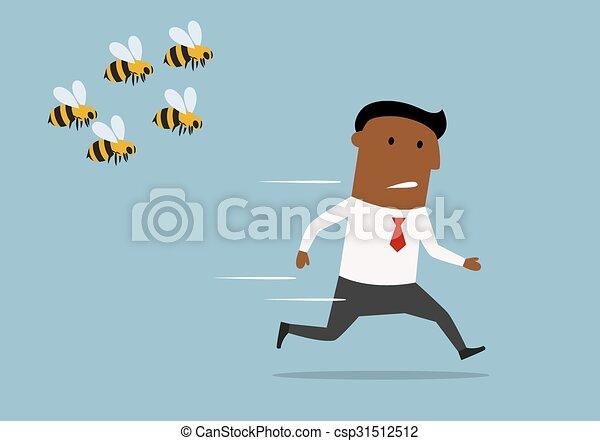 Cartoon businessman running away from bees - csp31512512