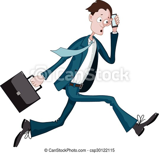 cartoon businessman running hurriedly with a case and phone rh canstockphoto co uk