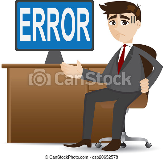 cartoon businessman showing error computer - csp20652578