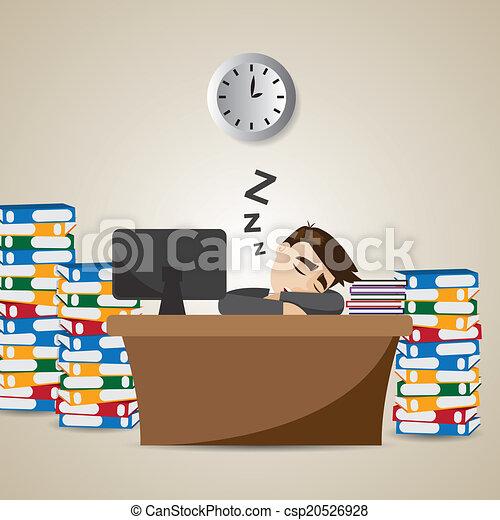 cartoon businessman sleeping at working time - csp20526928