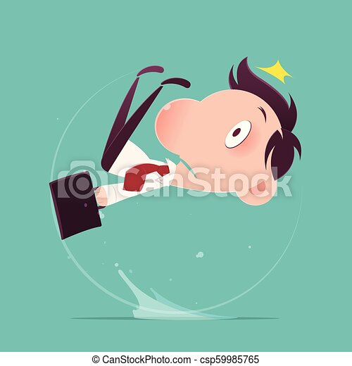 Cartoon businessman slipped on a water puddle , Illustration-Vector - csp59985765