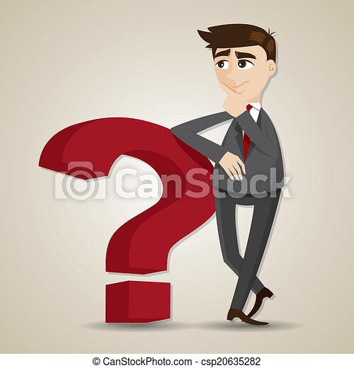 cartoon businessman thinking with question mark - csp20635282