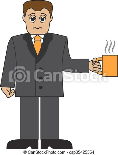 Cartoon businessman with a cup - csp35425554