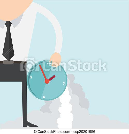 Cartoon businessman with clock concept - csp20201986