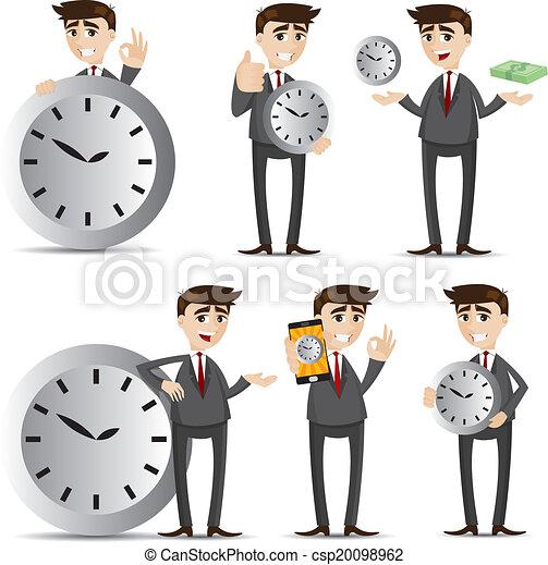 cartoon businessman with clock set - csp20098962
