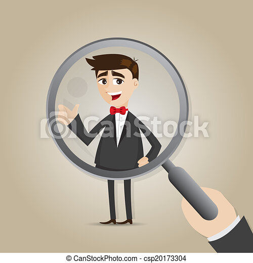 cartoon businessman with magnifier - csp20173304
