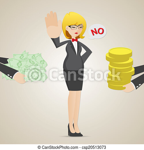 cartoon businesswoman refuse money from another person - csp20513073