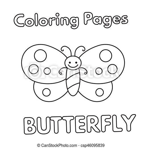 Cartoon Butterfly Coloring Book Cartoon Butterfly Vectors