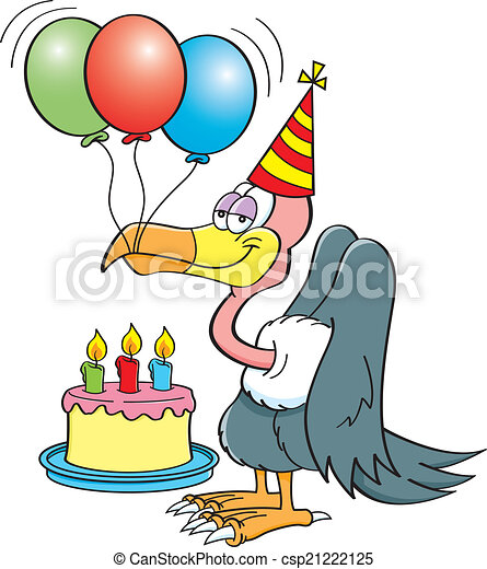 Cartoon Buzzard With A Birthday Cak