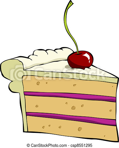 Cartoon Cake Piece Of Cake With Cherry Vector Illustration