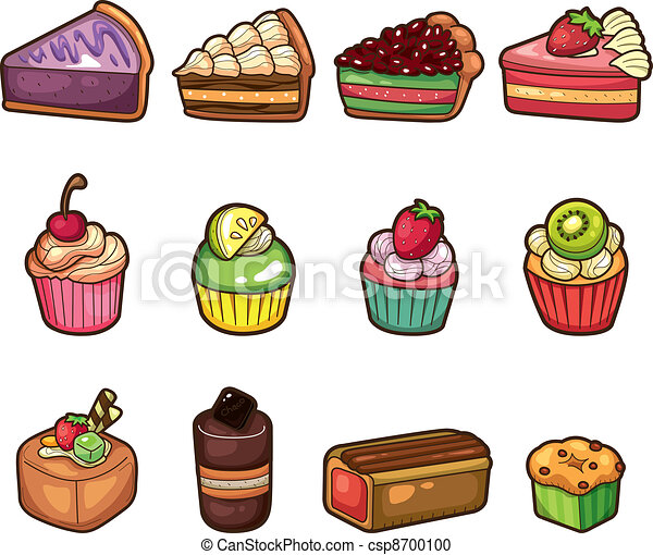cartoon cake icons set - csp8700100