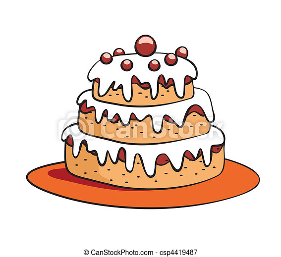 cartoon cake - csp4419487