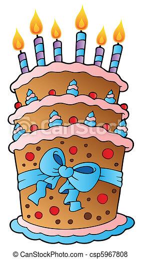 Cartoon cake with big ribbon - csp5967808