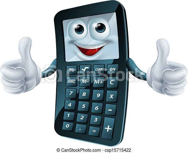 Cartoon calculator man. An illustration of a happy cartoon ...