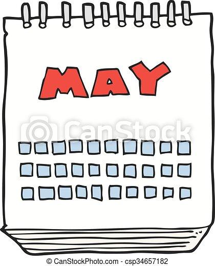 cartoon calendar showing month of may - csp34657182