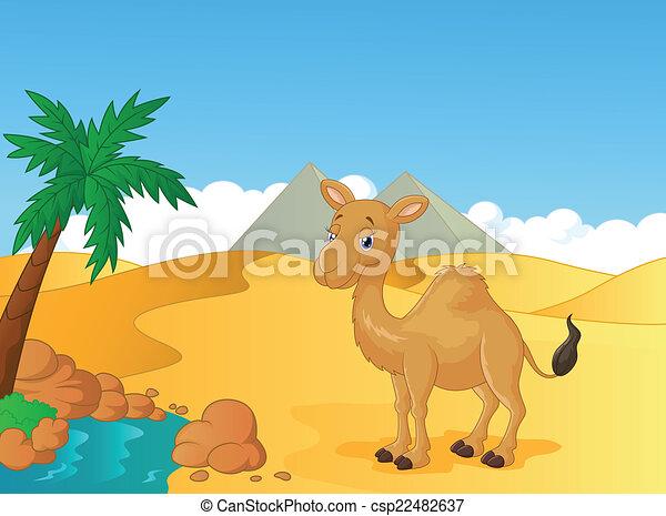 Vector Illustration Of Cartoon Camel With Desert Background